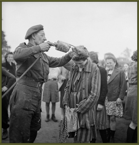 A British doctor uses DDT while delousing newly freed female prisoners at the Bergen-Belsen concentration camp, 1945