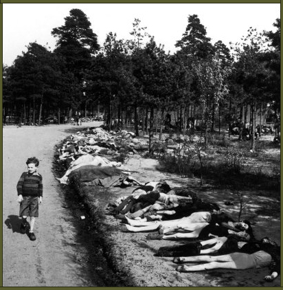 A small boy strolls down a road lined with dead bodies near the Bergen-Belsen concentration camp, 1945 copy
