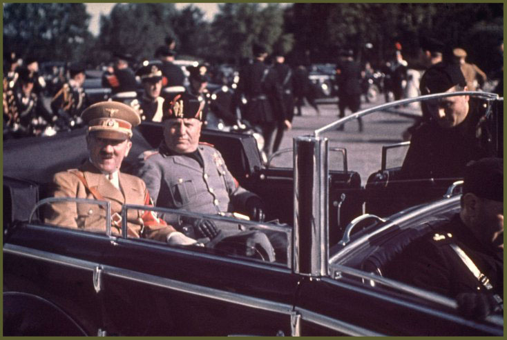 Adolf Hitler and Benito Mussolini during Hitlers 1938 state visit to Italy.