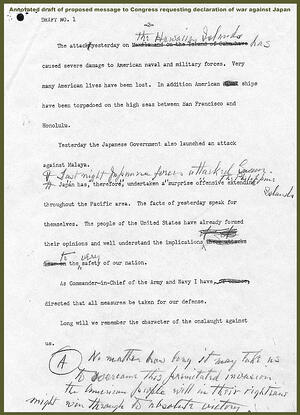 Annotated Draft of Proposed Message to Congress Requesting Declaration of War Against Japan page 2