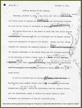 Annotated Draft of Proposed Message to Congress Requesting Declaration of War Against Japan