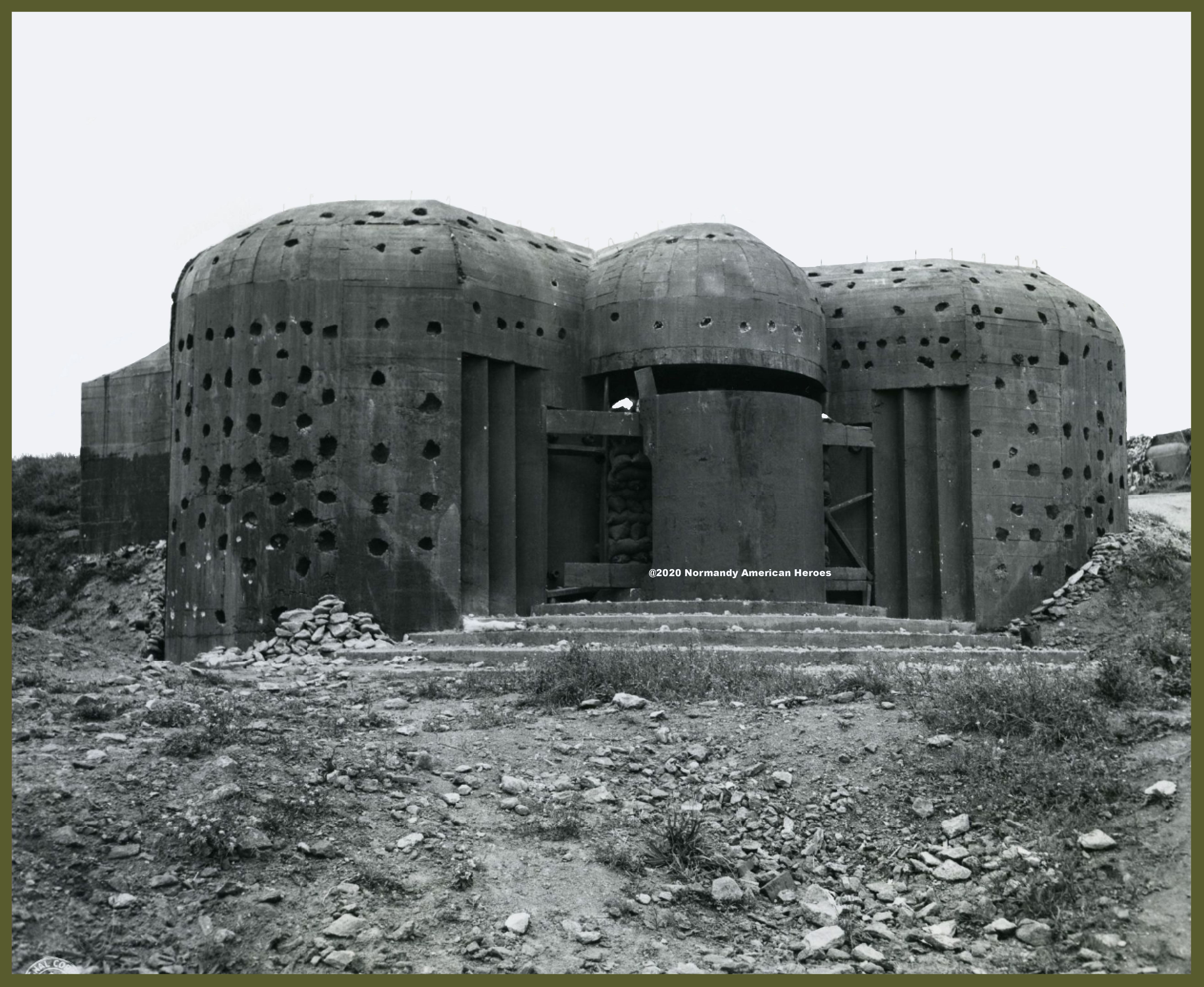 Concrete emplacement for mobile 150mm gun used by the Germans in their coastal defenses at Equeurdreville, France
