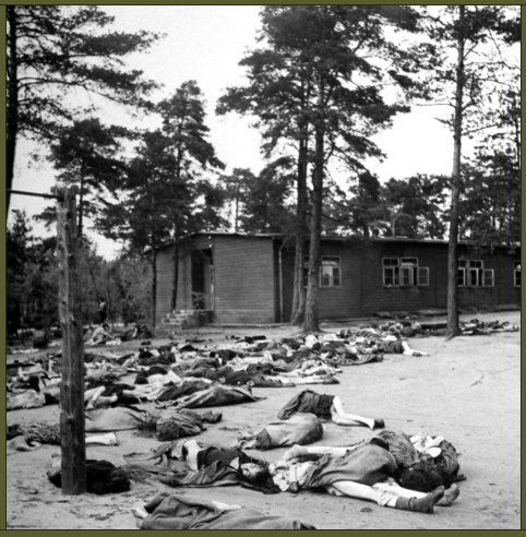 Corpses cover the ground at the Bergen-Belsen concentration camp, 1945