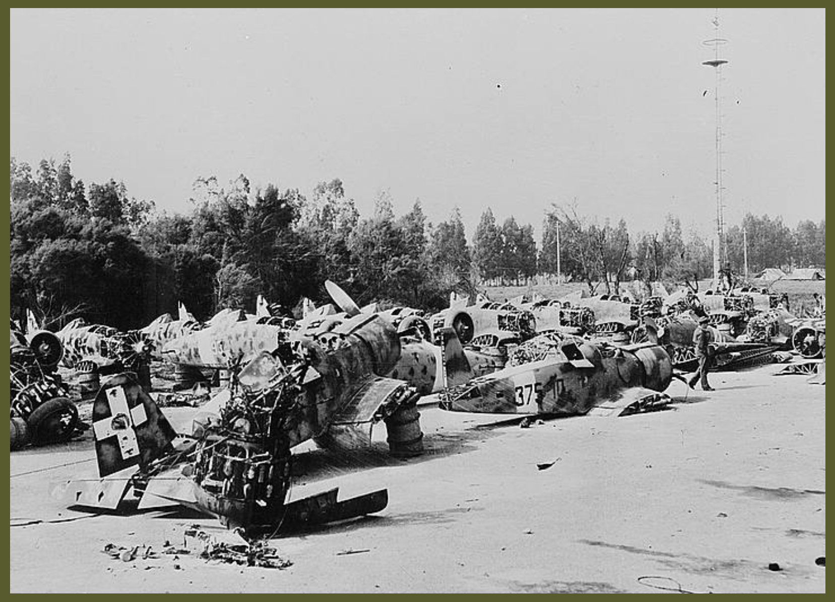 Enemy air equipment and installations took a heavy pounding from bombers of the United States Army air forces as they pursued Marshal Erwin Rommels retreating Afrika Korps through Libya and Tripoli to the Tunisian coast