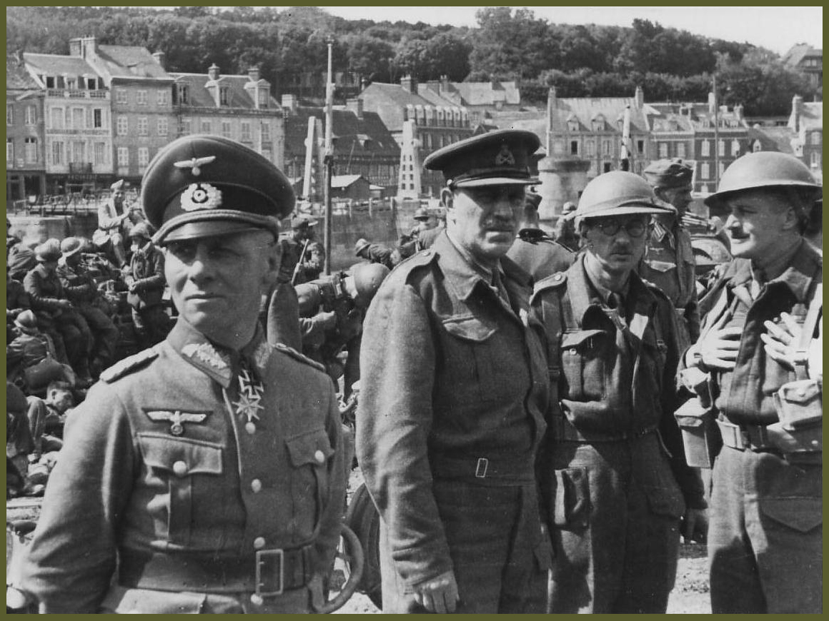 Erwin Rommel with captured British officers in Cherbourg, June 1940