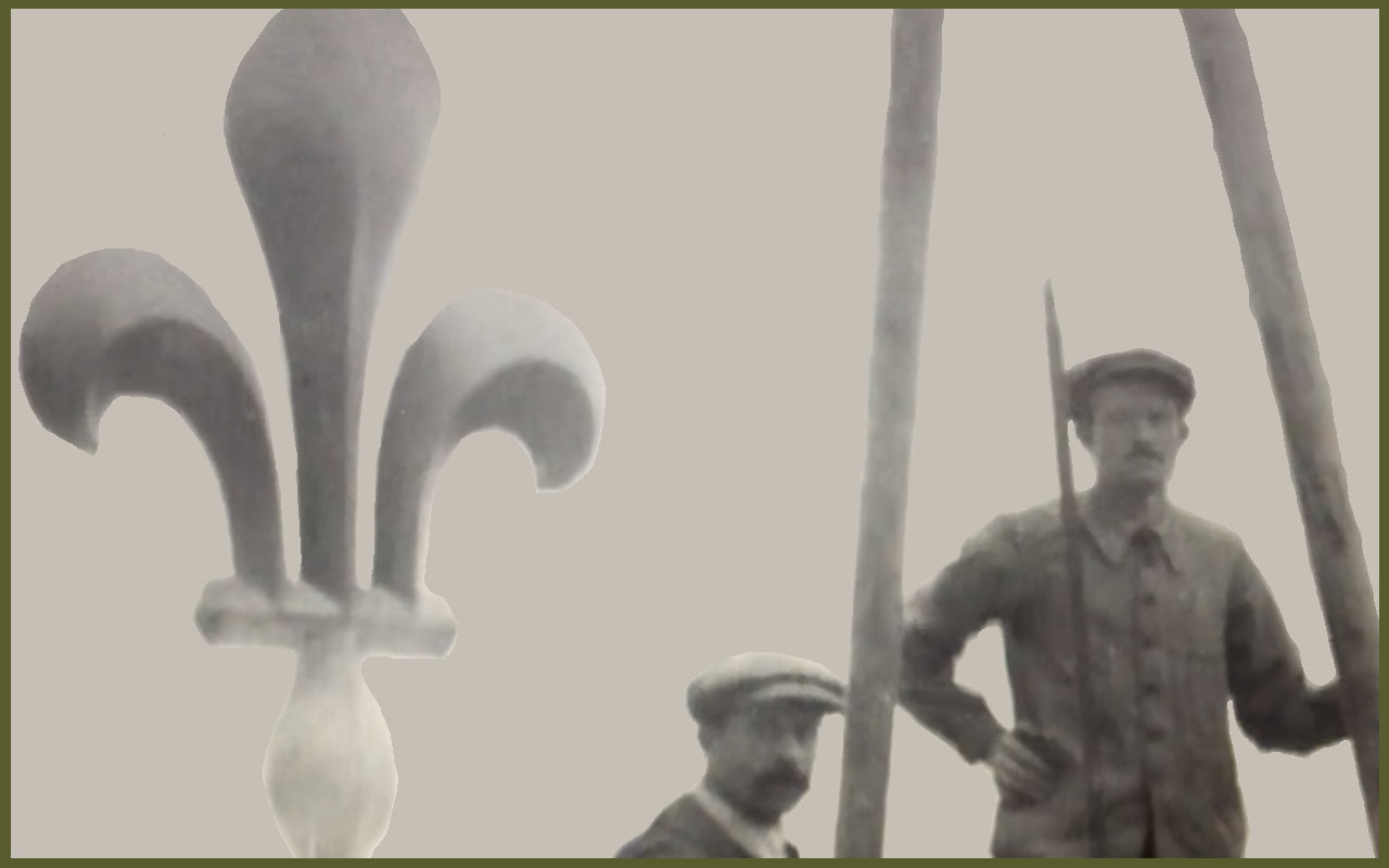 Fleur de lys with workers