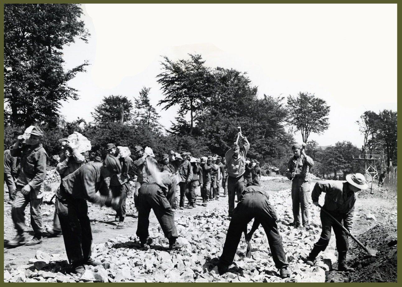 German pow breaking rocks in Normandy