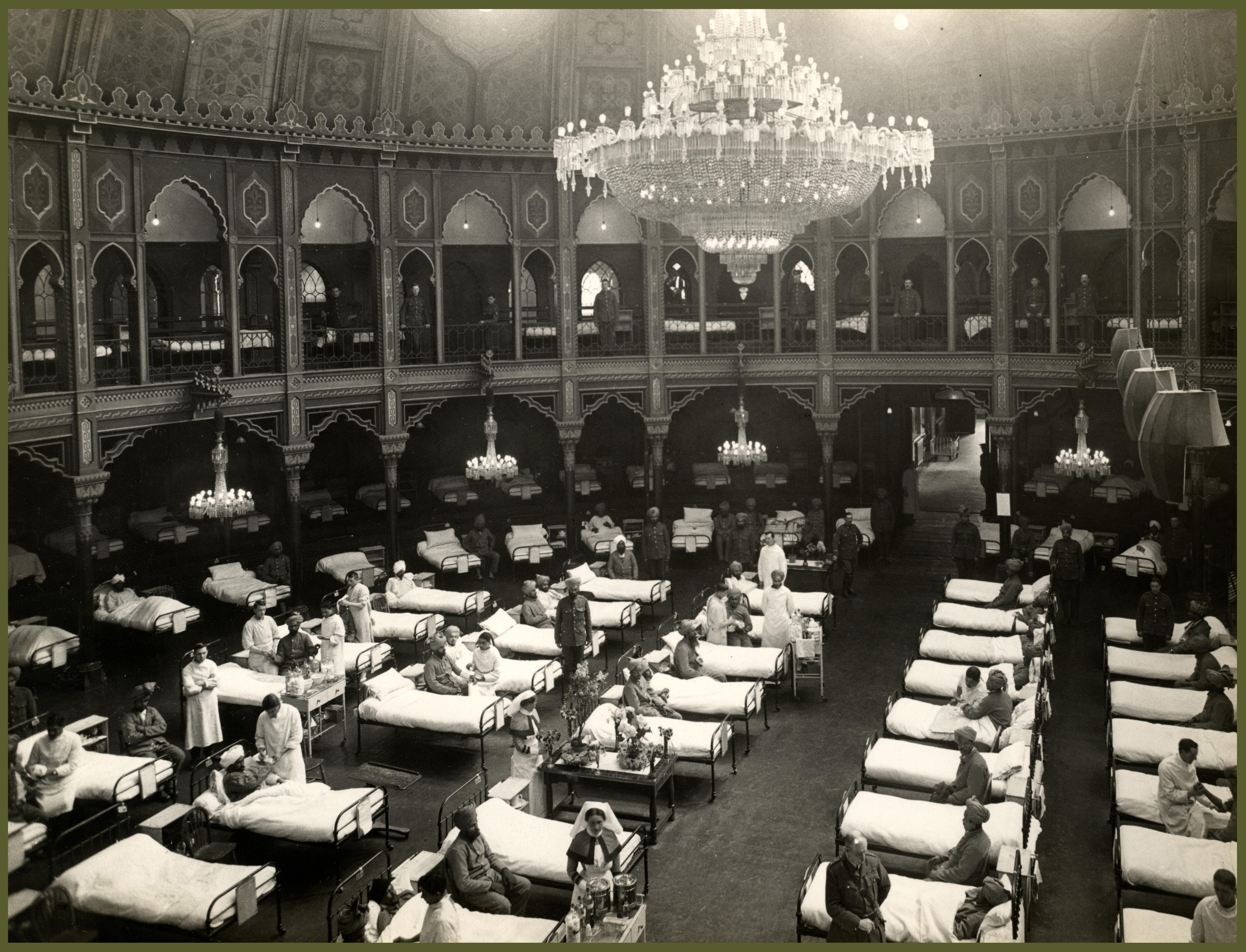 1914, World War 1. The Dome Hospital, showing some of the 689 beds in the whole hospital. These beautiful seaside palaces have been converted into hospitals for Indian troops, and are fitted with every modern convenience.