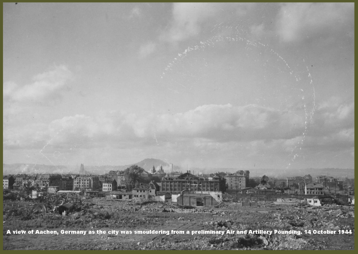 A View Of Aachen, Germany As The City Was Smouldering From A Preliminary Air And Artillery Pounding. 14 October 1944