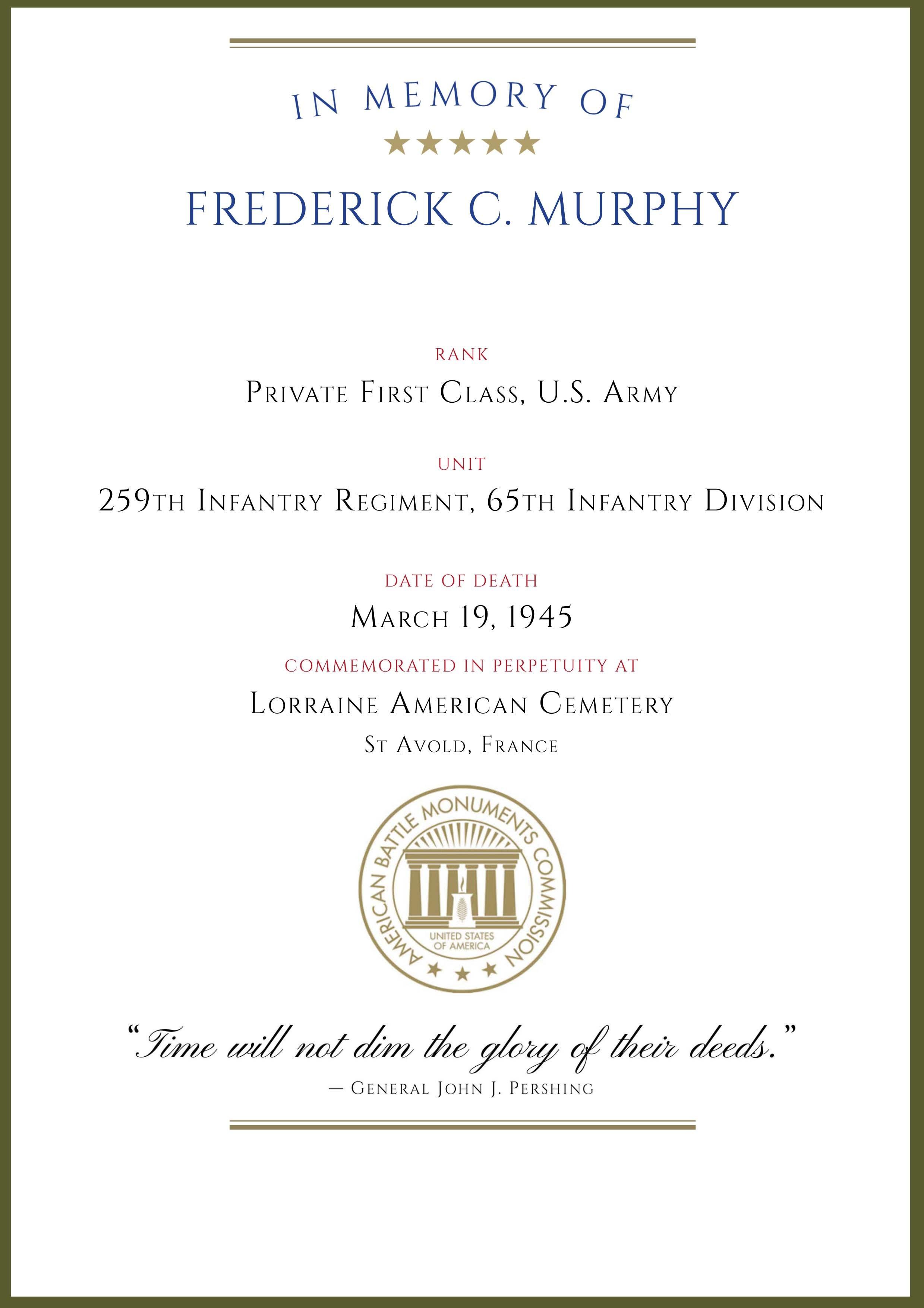 ABMC War Dead Certificate Frederick C Murphy-1
