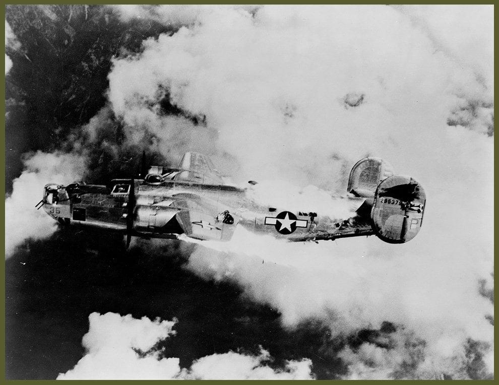 B-24 Liberator last moment in flames over Austria