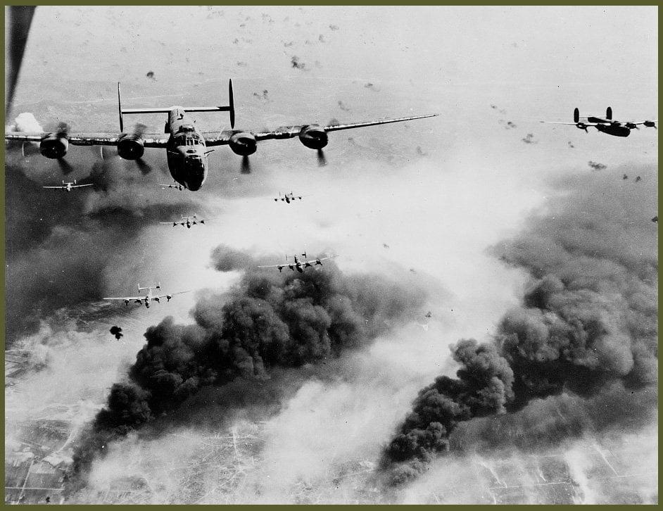 B-24 waves on oilfield Ploesti, Romania