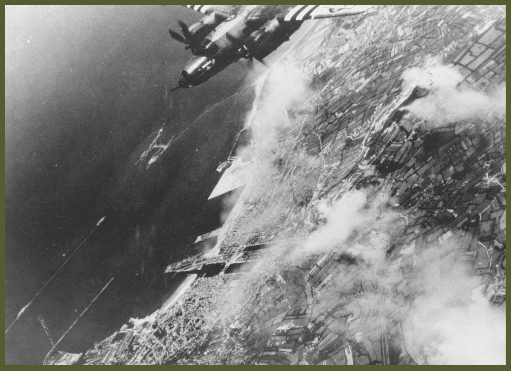 B26 flying above Cherbourg after Dday bombing copy