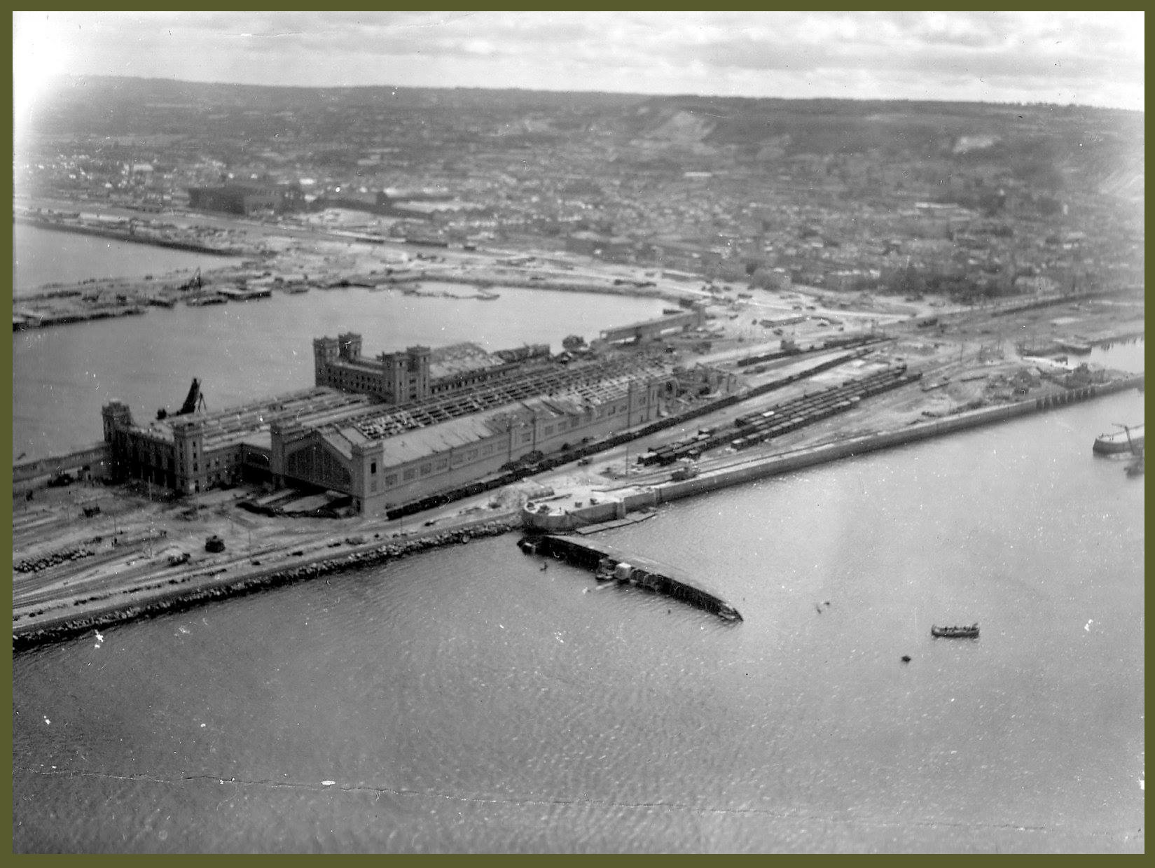 Cherbourg from the sky - ship Le Normand by the Germans copy