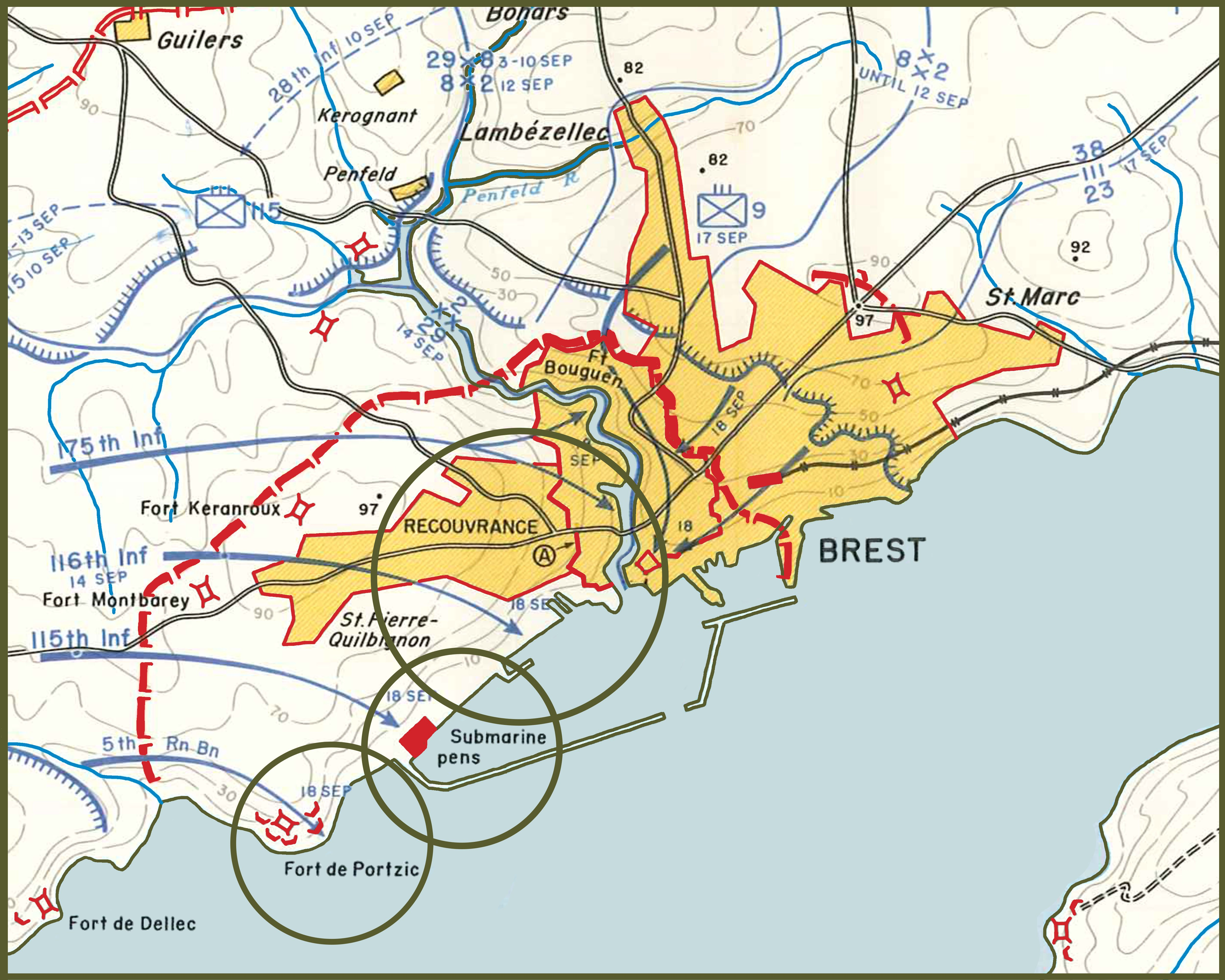 Final Brest center map 29th 8th and 2nd infantry division template