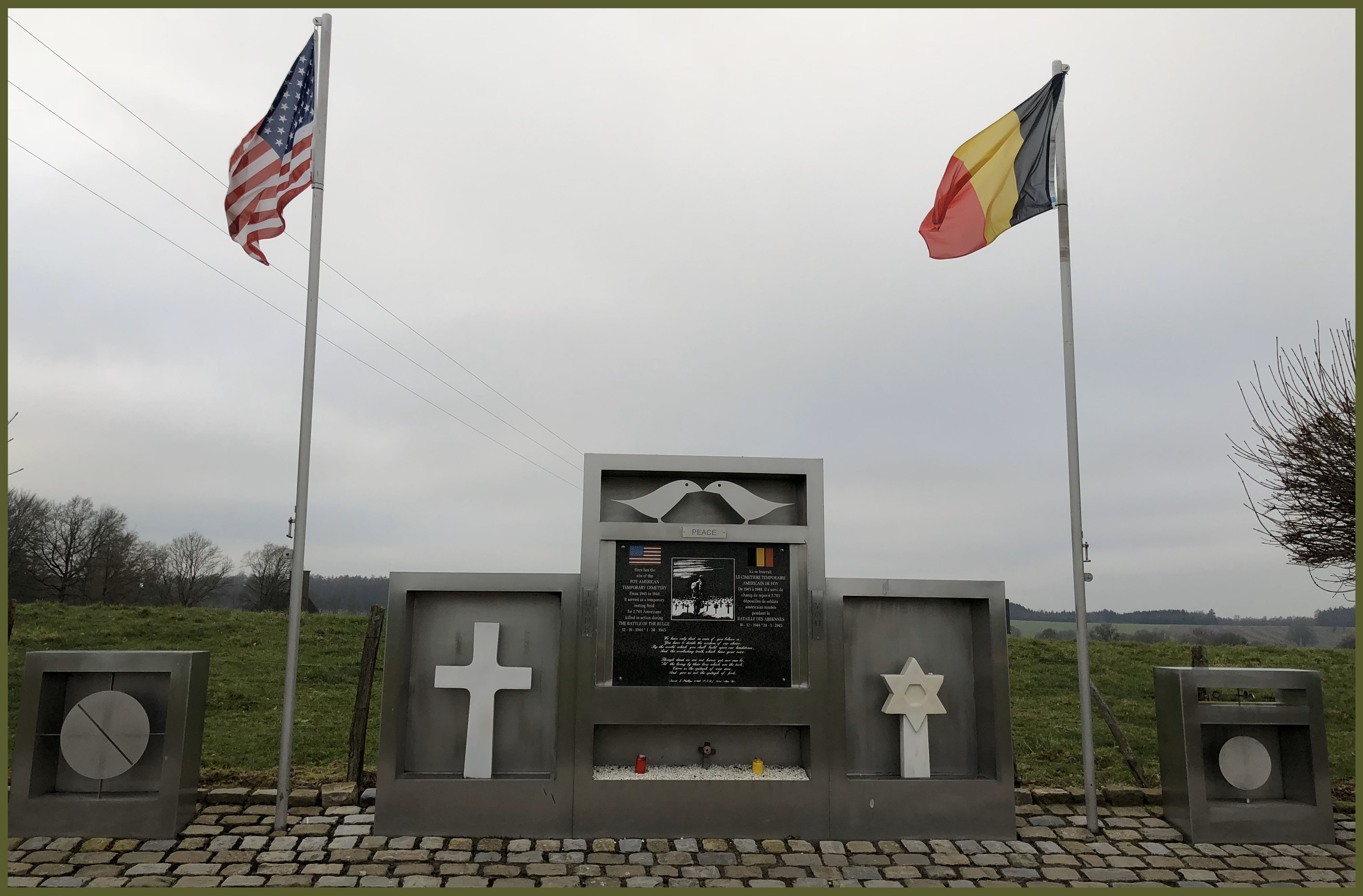Foy Monument with flags
