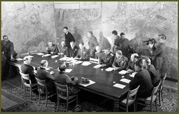 Scene at German surrender in World War II, Reims, France, May 7, 1945