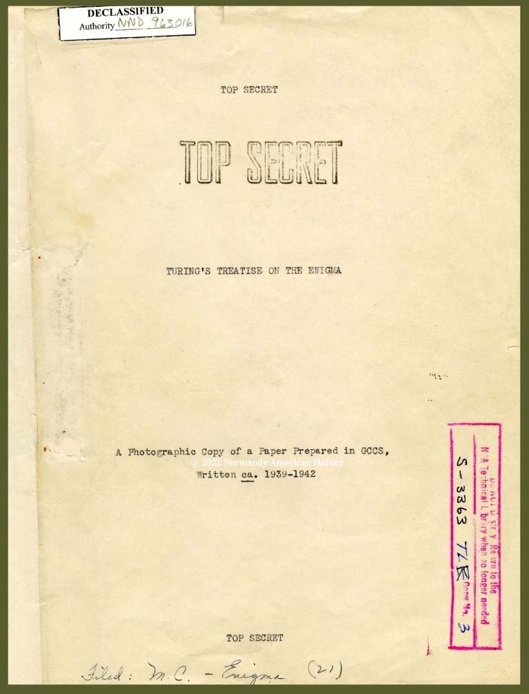 Turing treatise on Enigma