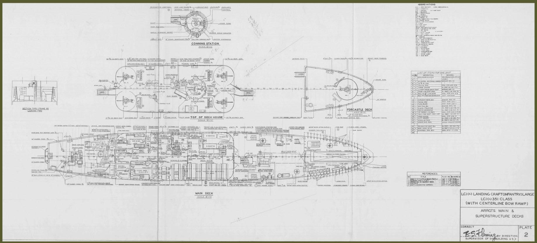 LCI(L)-351-class Landing Craft- Arrgts. Main & Superstructure Decks