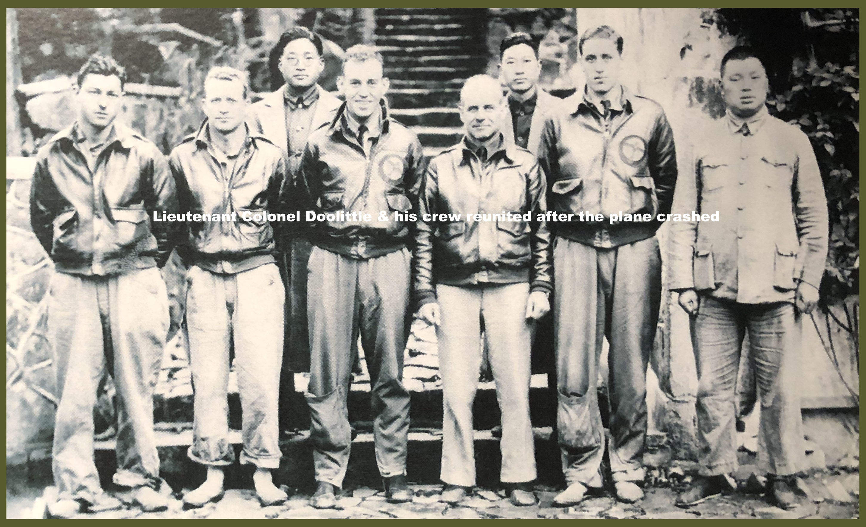 Lieutenant Colonel Doolittle (fourth from right) and his crew reunited after the plane crashed