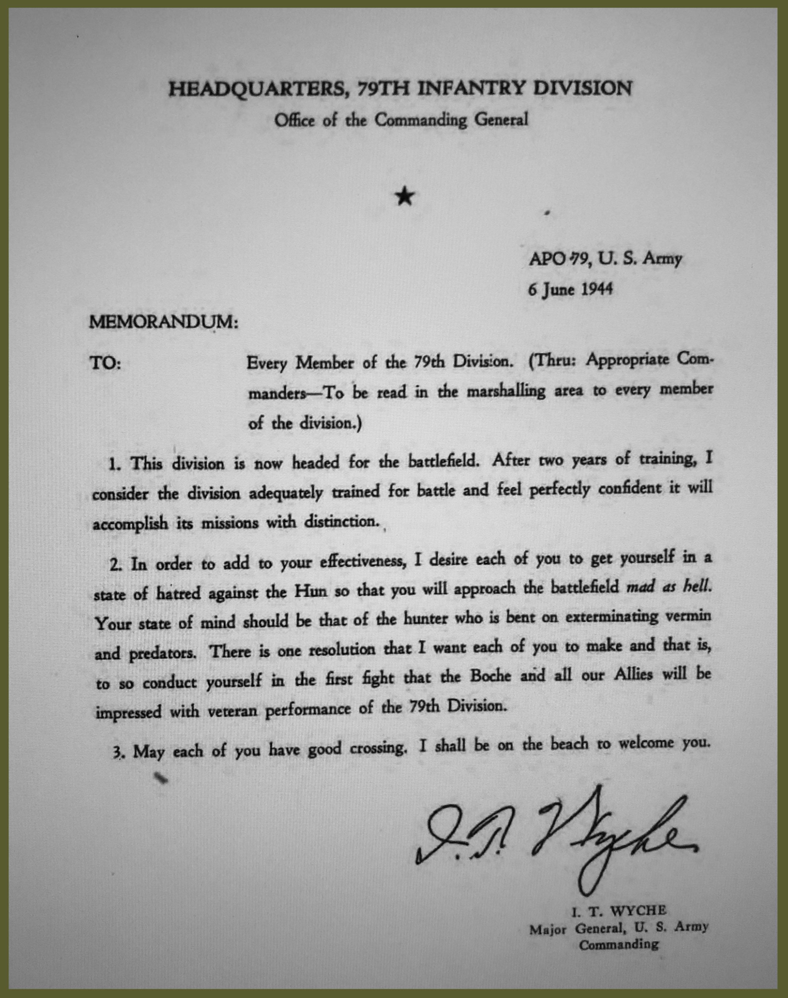 Major General L. T. Wyche order of mission 6 June 1944