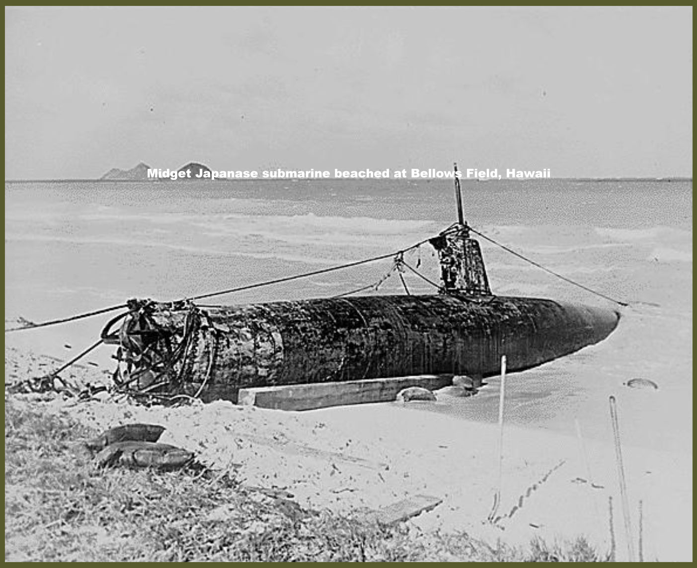 Midget Japanese submarine beached at Bellows Field, Hawaii