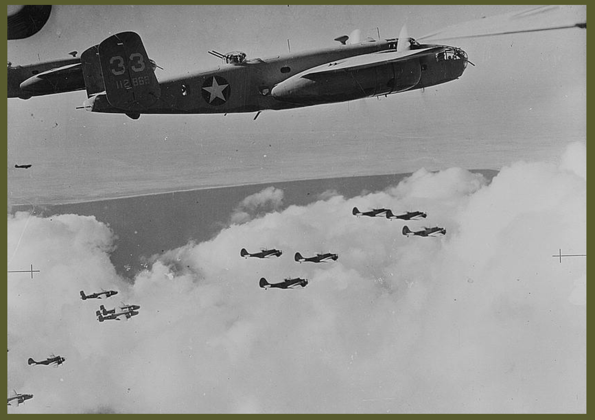 Mitchell B026 bombers of the United States Army Air Forces and Baltimore bombers of the South African air forces flying together in formation on their way to attack Rommels position in North Africa