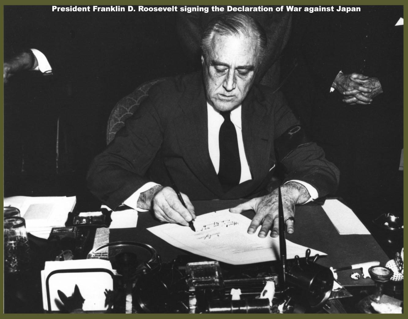 President Franklin D. Roosevelt Signing the Declaration of War Against Japan