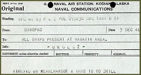 Radiogram reporting the Pearl Harbor attack, December 7, 1941