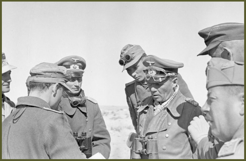 Rommel conversing with his staff near el Agheila 12 january 1942