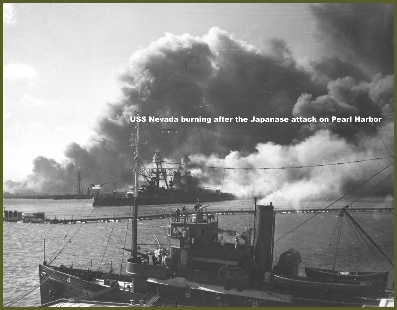 USS Nevada after the Japanese Attack on Pearl Harbor