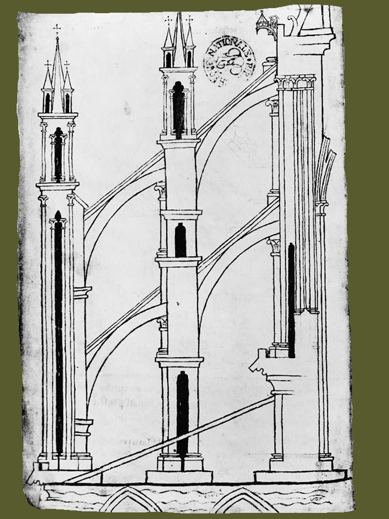 Villard de Honnecourt System of buttresses at the Reims cathedral