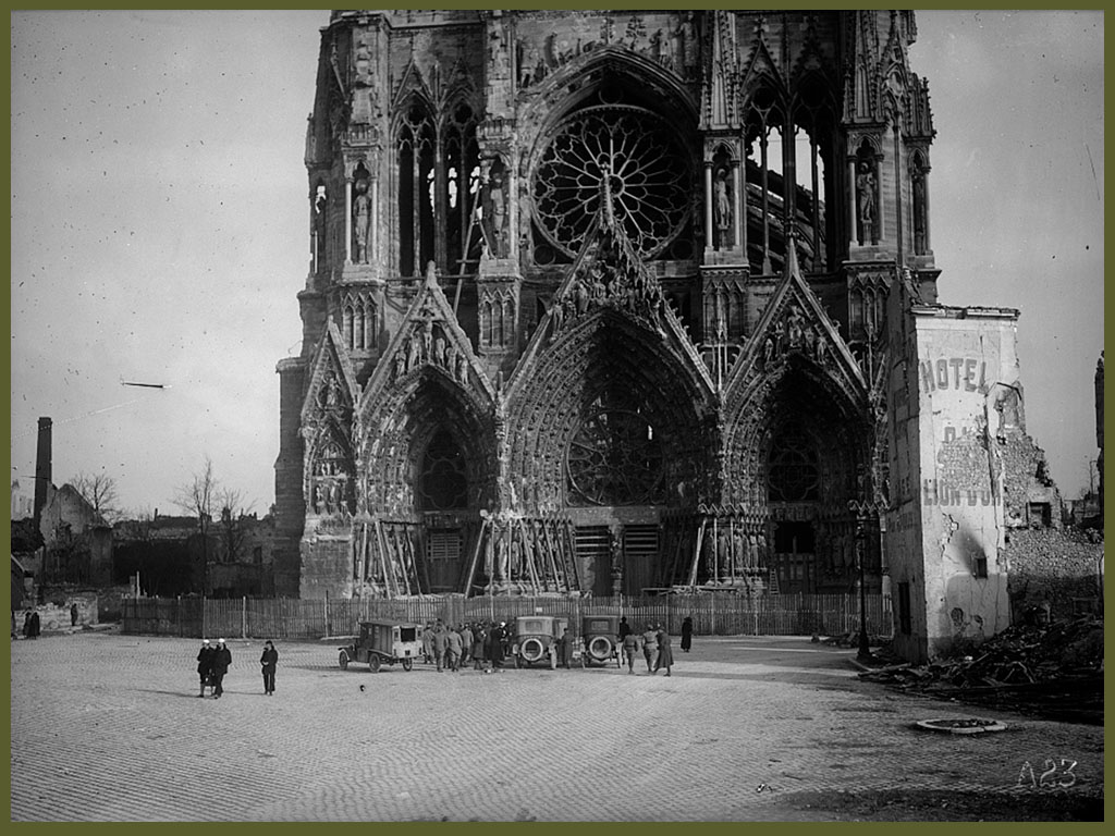 WWI Front view of the cathedral january 1919