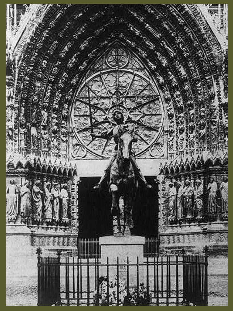 WWI Joan of Arc in front of the facade of the cathedral