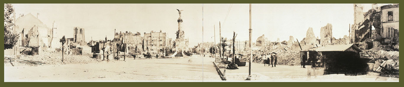WWI landscape Reims cathedral on the left 1918